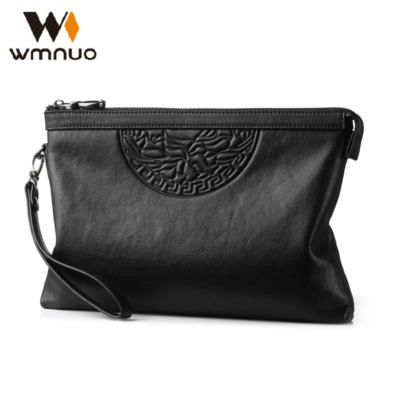 Wmnuo Brand Men Hand Bag High Quality Cow Leather Men Wallet Clutch Coin Purse 2018 Fashion Handbag Designer Casual Phone Bag цена 2017