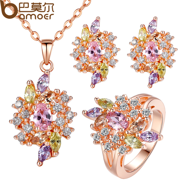 BAMOER Luxury  Gold Color Engagement Jewelry Sets with  AAA Colorful Cubic Zircon for Women High Quality Bridal Jewelry