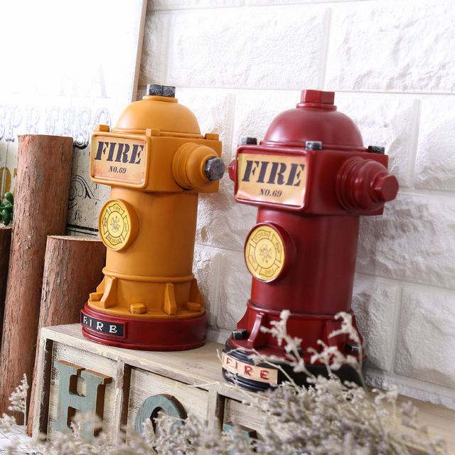 Vintage Style Resin Coin Saver Fire Hydrant Shape Money Box Household Piggy Bank Home Decor Student gift