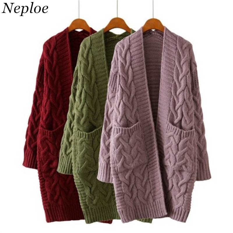 387c3a70ff8 Detail Feedback Questions about Neploe Women Sweaters Thicken Female  Cardigans 2017 Autumn Winter Casual Loose Medium long Knitting Twist  Cardigan Sweater ...