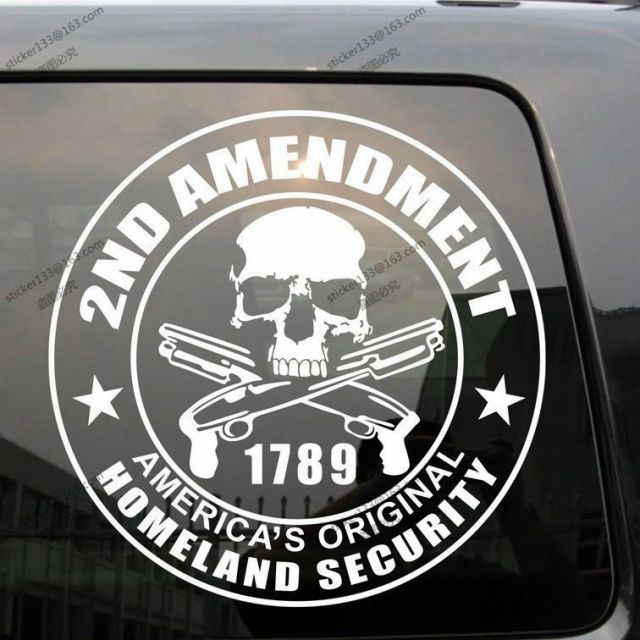 2nd amendment homeland security nra gun skull round car die cut decal stickerchoose color