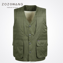 Zozowang new casual keep warm brushed winter V-Neck Single Breasted vest men plus size 3XL loose autumn waist coat