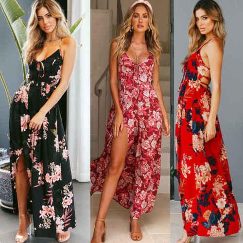 Women Floral Printed Sleeveless Maxi Long Dress Side Split Summer Holiday Beach