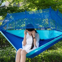 Portable Outdoor Parachute Fabric Hammock Hanging Bed With Mosquio Net Camping Sleeping Beds Shipping From US