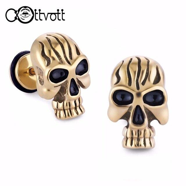 2pcs Lot Punk Stud Earrings For Men Hypoallergenic Stainless Steel Skull Earring High Quality