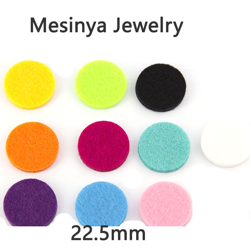 10 Colors round 22.5mm replacement felt pads for Essential Oils Diffuser pendant Lockets Perfume Aroma Locket refill pad