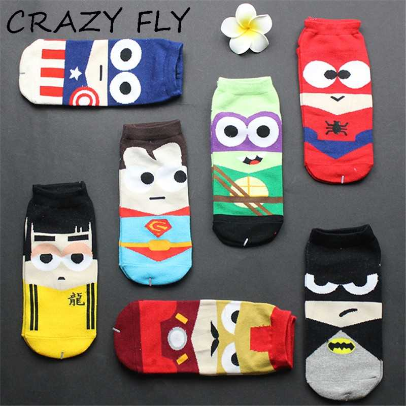 Crazy fly 2019 summer man/women 하라주쿠 엉덩이 엉덩이 닌자 배트맨 수퍼맨 스파이더 맨 american avenger 반팔 웃긴 양말