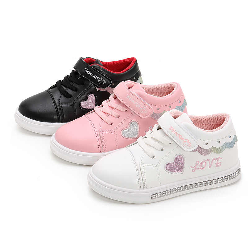 Children's sports shoes girls shoes spring autumn 2019 girls new flat-bottom student board shoes big children soft White Shoes