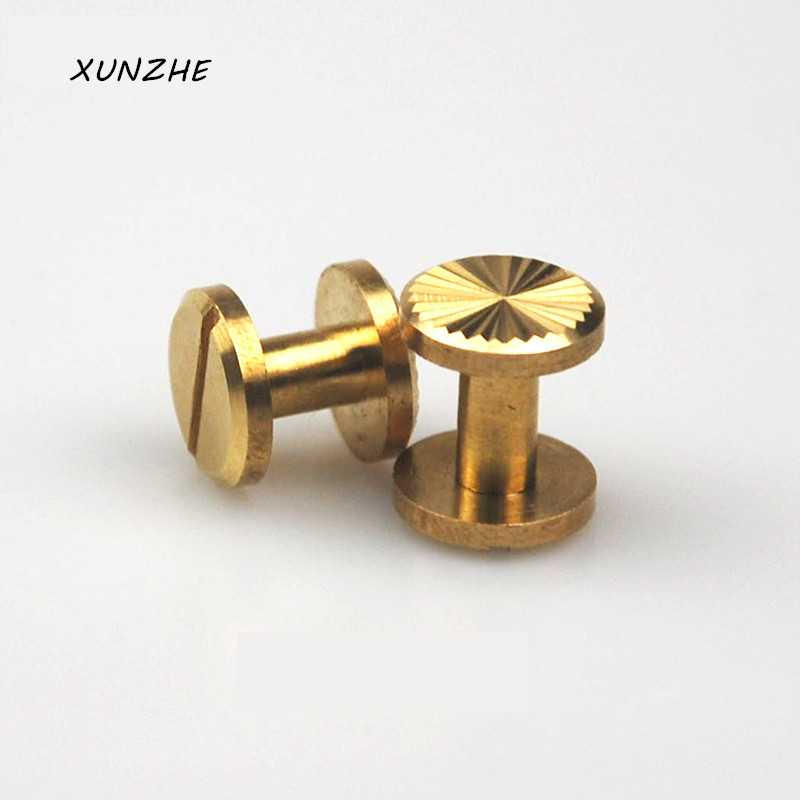 20Pcsbag Sun flower Brass Arc Button Stud Screw Nail Rivet Screw Back Leather Belt for Sewing Handmade DIY Accessories Material