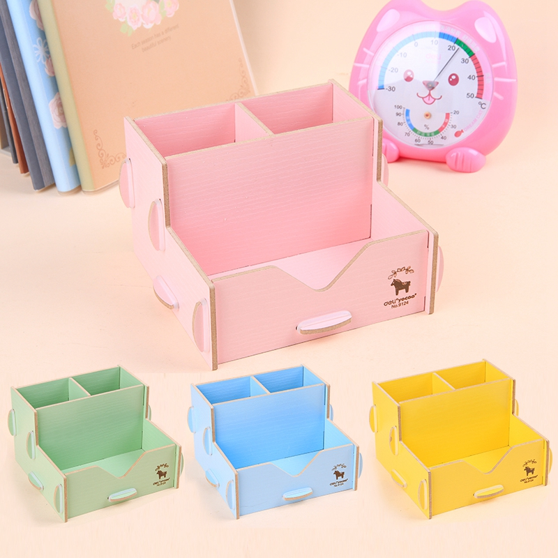 Desk storage diy creative multi functional wooden Diy pencil holder for desk