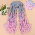 New Design 2017 Chiffon Butterfly Flower Print Scarf Women Artificial Silk Long Shawls And Scarves