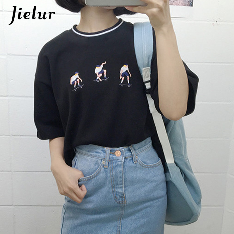 Jielur 2019 College Harajuku Style Skateboard Juvenile T-shirt Exquisite Embroidery Loose Short Sleeve T-shirts Mujeres Casual Top