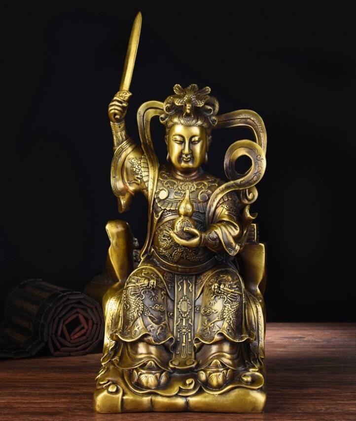 China Pure Brass Belle Fairy Jiu Tian Xuannv Dragon Gourd God StatueChina Pure Brass Belle Fairy Jiu Tian Xuannv Dragon Gourd God Statue