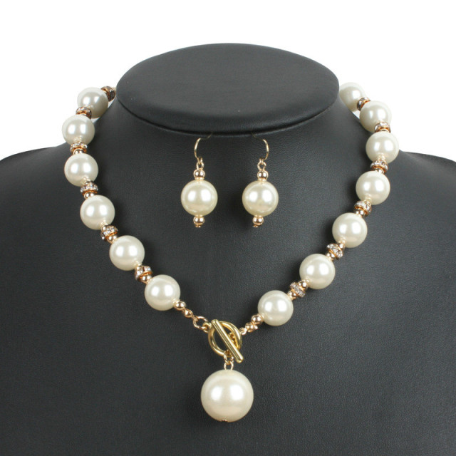 Grey Pearl Necklace Set Earrings Rose Gold Pearls Jewelry Sets for
