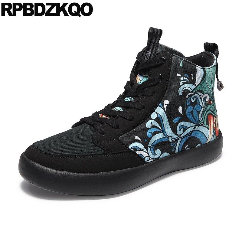 azul Size Da Preto Hip Tênis Céu Respirável Plus Luxo Marca Lona Sapatos De Qualidade Hop Top Homens Formadores cinza Pintura Skate Impresso Alta Up Lace ZZ0YqB