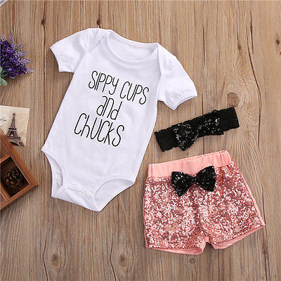 2017 Newborn Baby Girl Clothes Set Sippy Cups Romper+Sequin Shorts Headband 3PCS Outfits Toddler Kids Clothing 0-24M