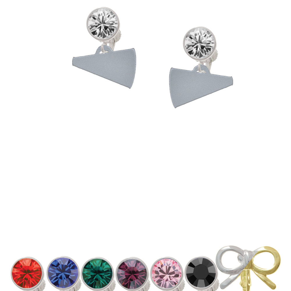 "Acrylic 3/4"" Silver Tone Megaphone Crystal Clip On Earrings"