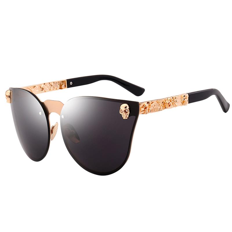 Vbiger Men Women Cateye Sunglasses Chic Skull Studded Sunglasses Gothic Eyewear Skull Frame Metal Temple Oculos de sol UV400