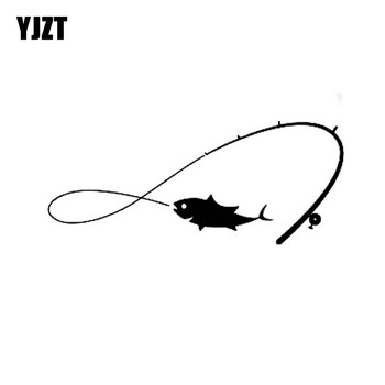YJZT 13cm*5.4cm Fashion Fishing Fishing Rod Fisherman Fish Hobby For Men Vinyl Car Window Sticker Decals Black Silver C11-0105 image