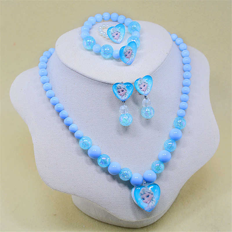 5pcs Disney cartoon Frozen Elsa children necklace+bracelet+ring+clip earring doll accessories girl birthday gift cosmetic chain
