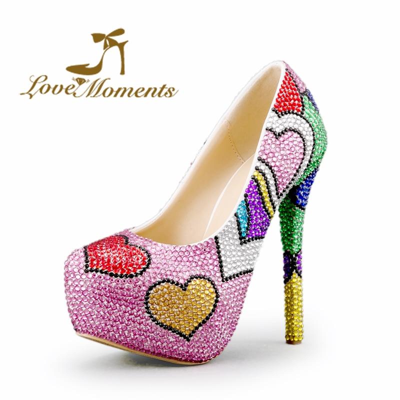 a24ea358d Multicolor Wedding Shoes Mix Color Pink Blue Green rhinestone ladies shoes  Platform high heels valentine designer Prom Pumps