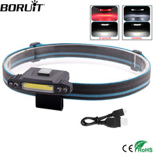 BORUiT COB LED 200LM Headlamp 3/4 Mode USB Rechargeable Headlight Built-in Battery Head Torch IPX4 IR Sensor Flashlight(China)