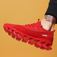 Outdoor Sport Men Running Shoe Lace Up Air Cushioning Mesh Breathable Blade Sneaker Spring Autumn Walking Hip Pop Red Black Shoe