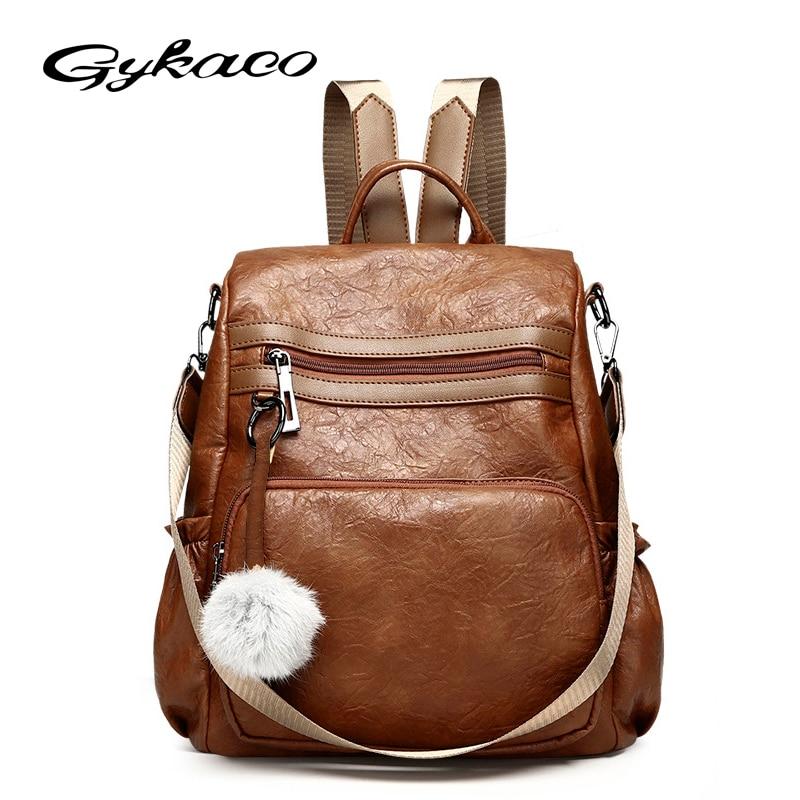 Gykaeo Vintage PU Leather Backpacks for Teenage Girls 2018 Woman Backpack Designers Sac A Dos Bags Back Pack Women Brand Bagpack