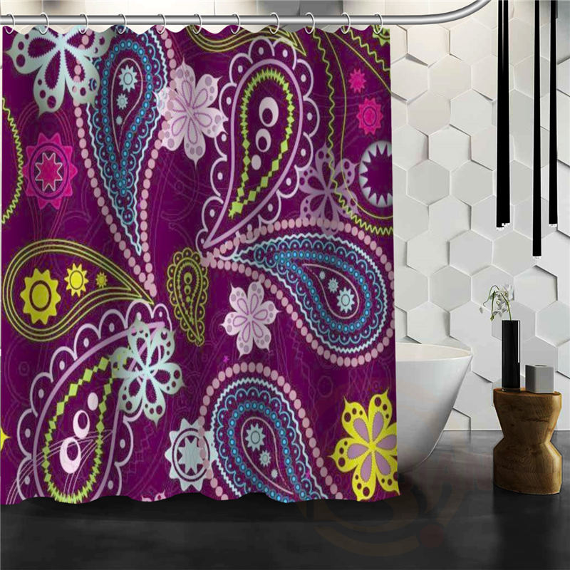 Latest Hot Creative Paisley Shower Curtain Pattern Personalized Custom Bath Fabric Polyester Beautiful H030870 In Curtains From Home