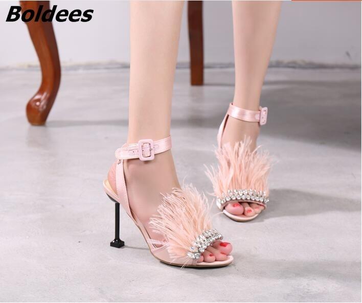 Мода дизайнер одна линия пряжка Стиль со стразами босоножки на высоком каблуке женщина Мех животных на шпильке Высокие каблуки кристаллами... - 5