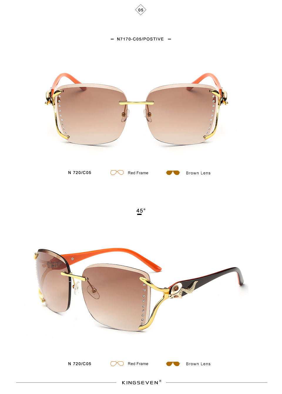KINGSEEVEN Elegant Female Sunglasses Large frame fox decorated with diamond decoration Brand Designer Women's Glasses Feminine 9