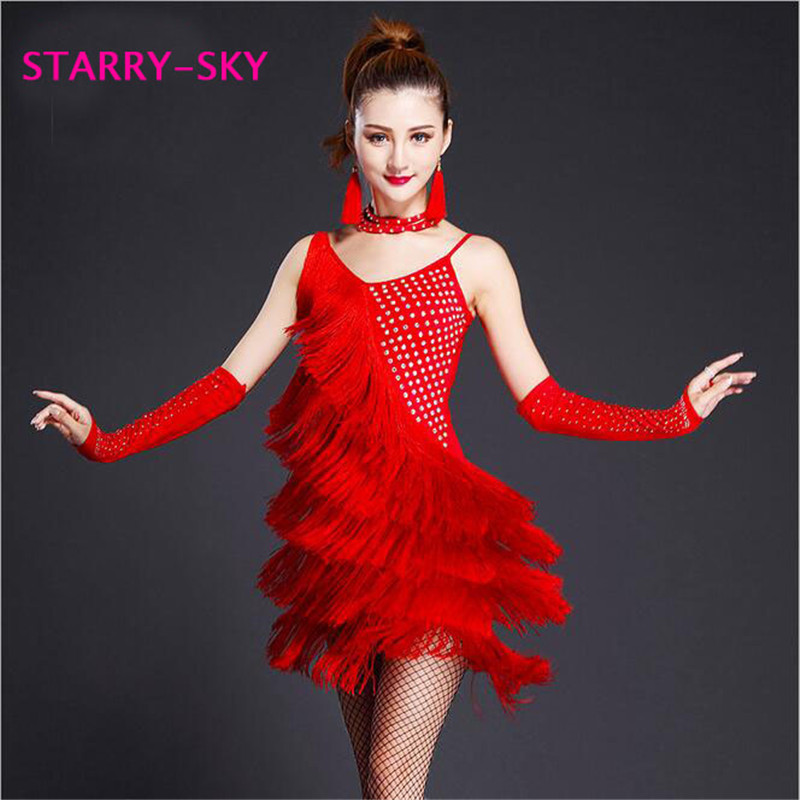 Women Latin Dance Dress Tiered Fringes Skirt Dancewear Tango Ballroom Salsa Dance Dress Party Costume Tassel