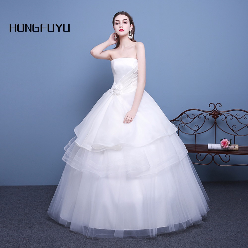 Cheap Wedding Dresses 2017 Lace Wedding Gowns Princess: Real Sample White Princess Strapless Tiered Sleeveless