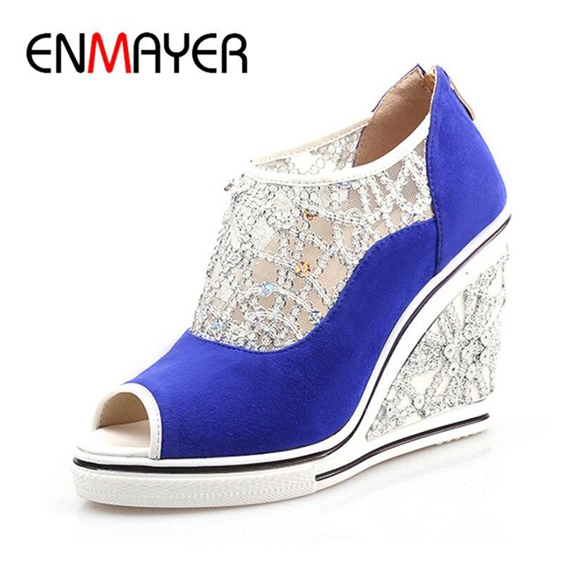 ФОТО ENMAYER New Arrivals Spring Women Shoes Wedges Ladies Pumps Glitter Flock Summer Fashion Sexy Black Pumps Platform Shoes Woman