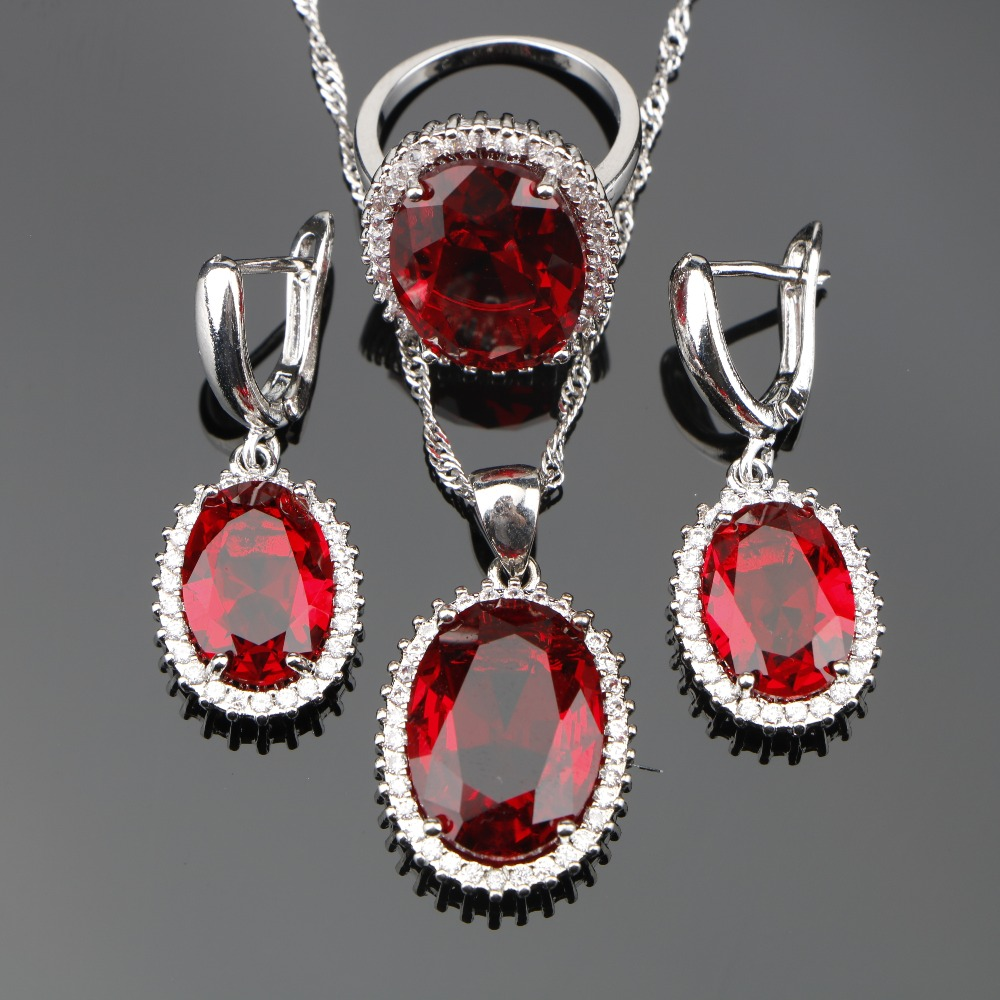 Red Zircon 925 Silver Bridal Jewelry Sets Women Necklace Charms Bracelets Rings Earrings Set With Stones Jewelery Gift Box