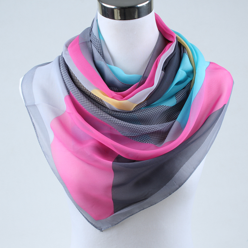 spring new 2019 fashion women silk scarf chiffon shawls geometric print thin long polyester scarves foulard women 004