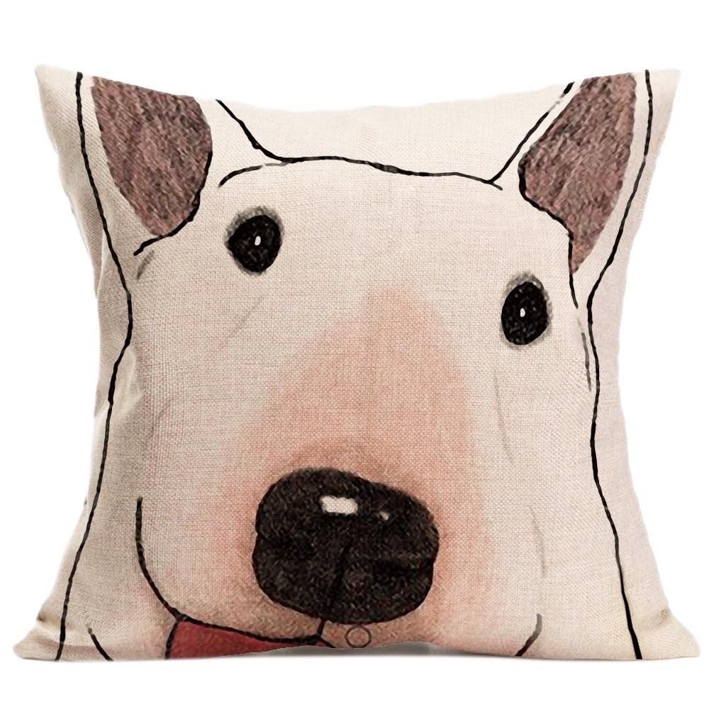 Cute Dog Sofa Bed Home Decor Throw Pillow Cover Cushion Cover Pillowcase 45*45cm Cotton Linen Throw Pillow Case For Child Kids