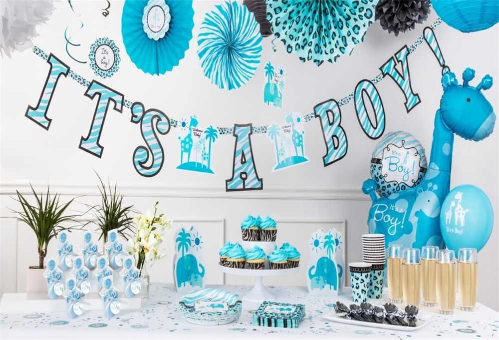 10737354ec Laeacco Cake Balloon Decoration Scene Baby Boy Shower Photography  Backgrounds Customized Photographic Backdrop For Photo Studio