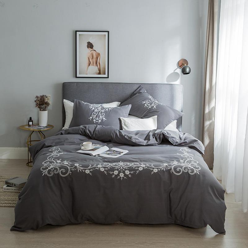 Parure de lit coton blanc gris bleu couvre lit Queen King size parure de lit parure de couette housse de couette ropa de cama linge de lit-in Ensembles de literie from Maison & Animalerie    2