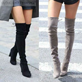 Women Faux Suede Thigh High Boots Fashion Over the Knee Boot Stretch Sexy Overknee High Heels Woman Shoes Black Red Gray Khaki