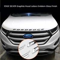 For Ford EDGE 2015 2018 SILVER Graphite Hood Letters Emblem Gloss Finish metal Emblem