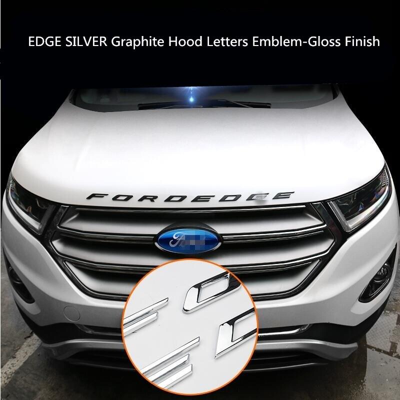 Pour Ford EDGE 2015-2018 argent Graphite capot lettres emblème-finition brillante métal emblème