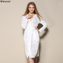 Summer white womens bathrobe jacquard hollow sexy robe femme cotton lace mid length home bathrobes