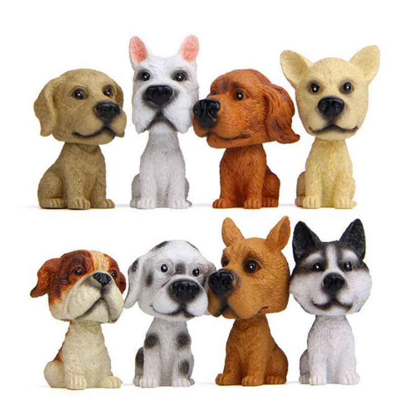 1 PC Kawaii Mobil Ornamen Gemetar Kepala Resin Anjing Anak Anjing Patung Interior Dashboard Action Figures, Mainan