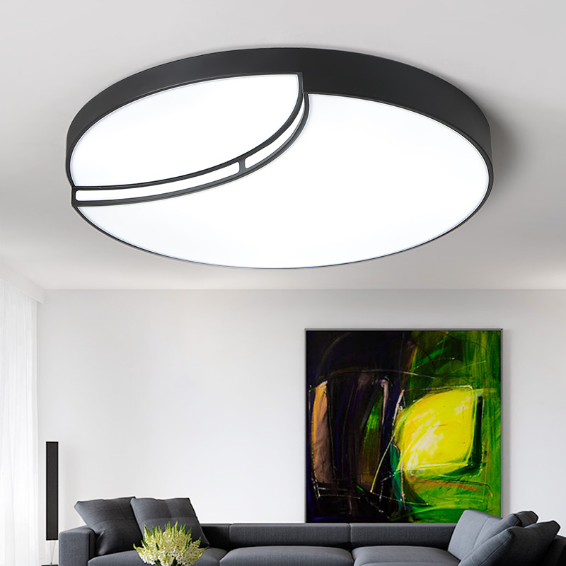 Round Modern Led ceiling lights for living room bedroom AC85-265V White/Black Home Deco Ceiling Lamp Fixtures Free Shipping white black modern led ceiling lights for living room bedroom square rectangle home dec modern led ceiling lamp free shipping