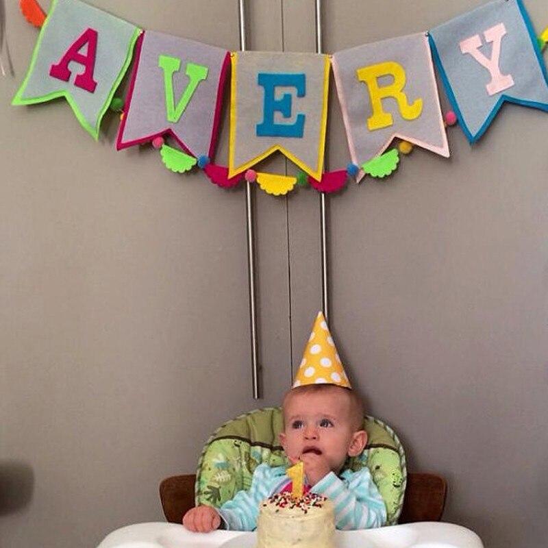 Us 9 68 Gepersonaliseerde Baby Douche Banner Custom Jongen Naam Bunting Regenboog Verjaardag Slingers Party Decoraties Pompoms Haarbal Vlag Hot In