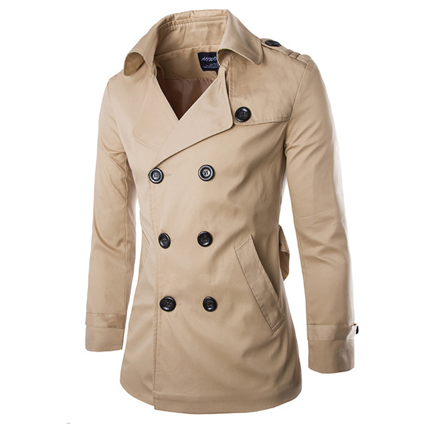 2015 Nova Moda Homens do Revestimento de Trincheira Slim Fit Outono Inverno Sólida Dragona Blusão Jaqueta Casual Curto Casaco 13M0381