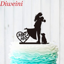 Black Acrylic Wedding Cake Topper, Personalized Mr and Mrs Topper Dog,Bride Groom Decoration ,Unique Decor