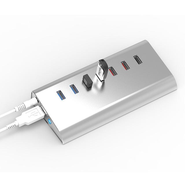 Multifuncional hub USB de extensión usb (4 * USB3.0 + 2*1 V 1A cargador puerto 1 * QC2.0) para el lector de tarjetas/micrófono blueendless H4013U3