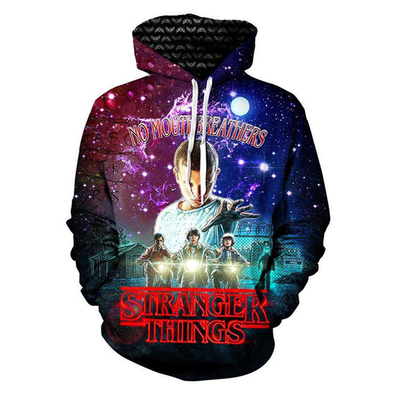 2018 New Fashion Mens Hoodies Stranger Things,Montauk Print Sweatshirts Women Cotton Long Sleeved Couple Fleece Pullover
